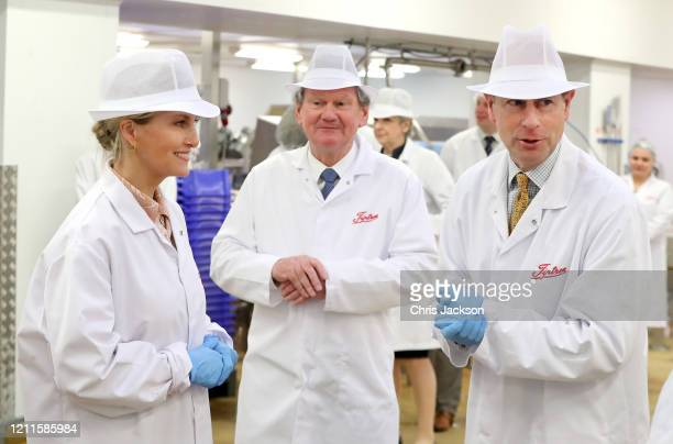 Sophie Countess of Wessex and Prince Edward Earl of Wessex share a joke during a visit to Tiptree Jam Factory on March 10 2020 in Tiptree United...
