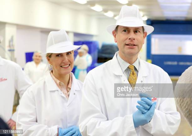 Sophie Countess of Wessex and Prince Edward Earl of Wessex smile during a visit to Tiptree Jam Factory on March 10 2020 in Tiptree United Kingdom The...