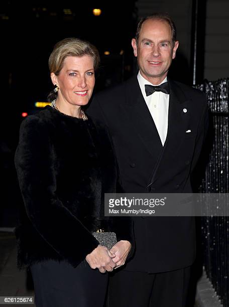 Sophie Countess of Wessex and Prince Edward Earl of Wessex visit the Exhibition of Opals by John Adie at Buck's Club on November 24 2016 in London...