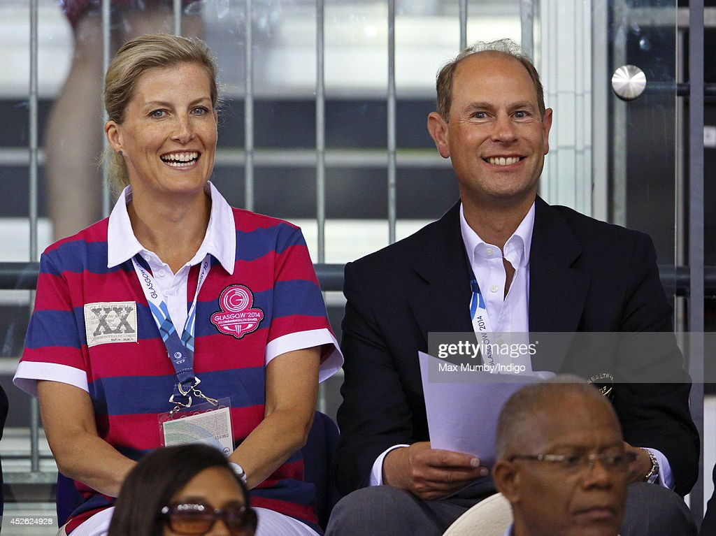 Sophie, Countess of Wessex and Prince Edward, Earl of Wessex watch the track cycling in the Sir Chris Hoy Velodrome on day one of 20th Commonwealth Games on July 24, 2014 in Glasgow, Scotland.