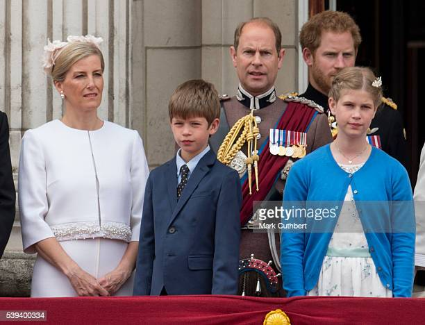 Sophie Countess of Wessex and Prince Edward Earl of Wessex with James Viscount Severn and Lady Louise Windsor during the Trooping the Colour this...