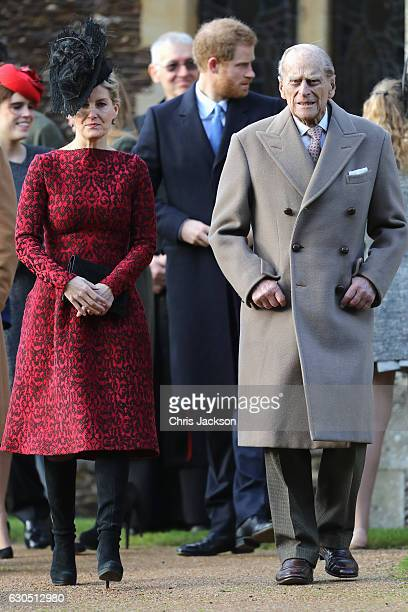 Sophie Countess of Wessex and Prince Philip Duke of Edinburgh attend a Christmas Day church service at Sandringham on December 25 2016 in King's Lynn...