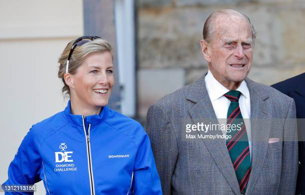 Sophie, Countess of Wessex and Prince Philip, Duke of Edinburgh pose for a photograph before The Countess leaves the Palace of Holyroodhouse on day...