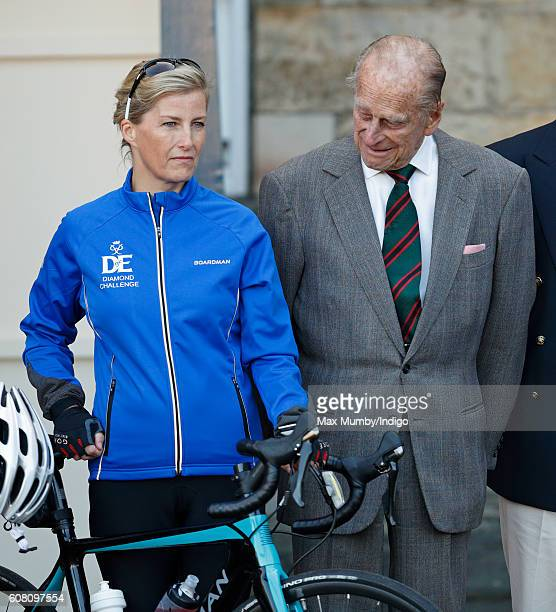Sophie Countess of Wessex and Prince Philip Duke of Edinburgh pose for a photograph before The Countess leaves the Palace of Holyroodhouse on day one...