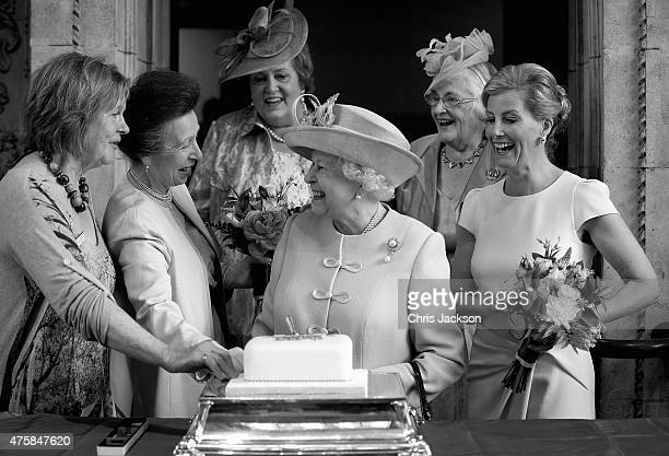 Sophie Countess of Wessex and Princess Anne Princess Royal look on as Queen Elizabeth II cuts a Women's Institute Celebrating 100 Years cake at the...
