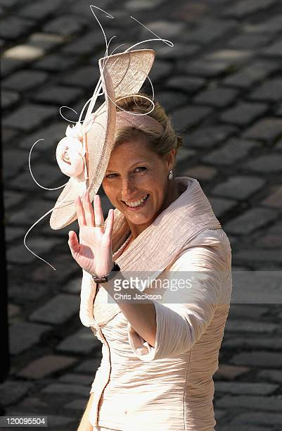 Sophie, Countess of Wessex arrives at Canongate Kirk on the afternoon of the wedding of Mike Tindall and Zara Philips on July 30, 2011 in Edinburgh,...
