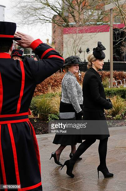 Sophie Countess of Wessex arrives at Leicester Cathedral for the reinterment ceremony of King Richard III on March 26 2015 in Leicester England The...