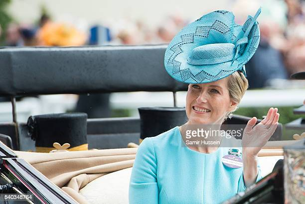 Sophie Countess of Wessex arrives by carrieage for day 2 of Royal Ascot at Ascot Racecourse on June 8 2016 in Ascot England