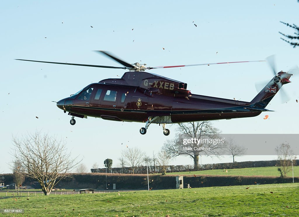 Sophie, Countess of Wessex arrives by helicopter on the occasion of her 52nd birthday to attend The Devon County Agricultural Association's AGM as President at Westpoint on January 20, 2017 in Exeter, England.