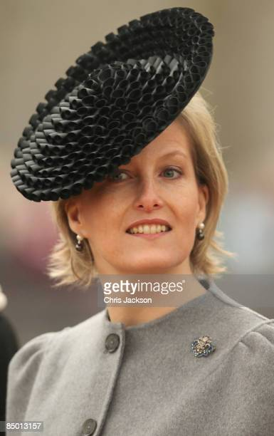Sophie, Countess of Wessex arrives for the unveiling of a new statue of Queen Elizabeth, the Queen Mother on the Mall on February 24, 2009 in London,...
