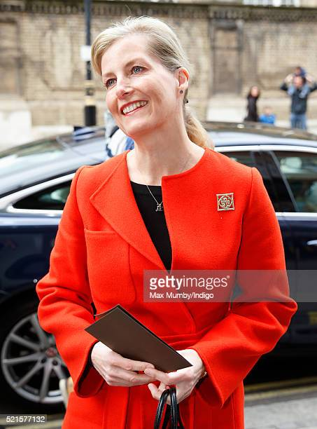 Sophie Countess of Wessex arrives to open the newly refurbished Girlguiding head office on April 16 2016 in London England
