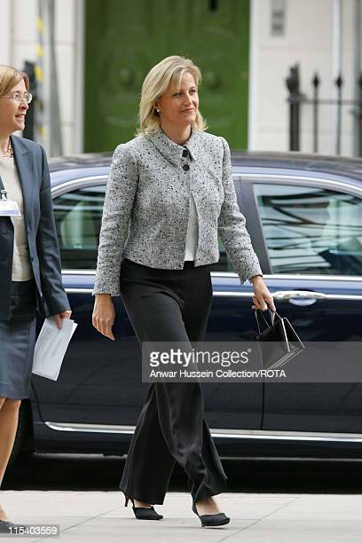 Sophie Countess of Wessex arrives to unveil a tiny statue of Tinkerbell to be affixed to the finger of the statue of Peter Pan at Great Ormond Street...