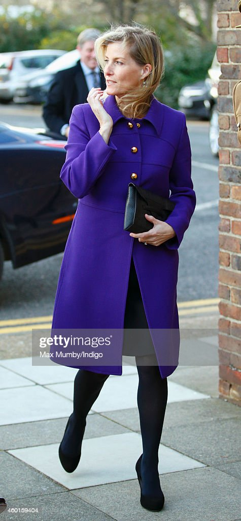 Sophie, Countess of Wessex (in her role as Colonel-in-Chief, Corps of Army Music) arrives to visit The Countess of Wessex's String Orchestra at the Royal Artillery Barracks, Woolwich on December 8, 2014 in London, England.