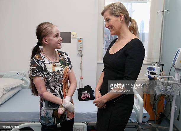 Sophie Countess of Wessex as Patron of the Charity DEBRA meets EB sufferer Samantha Hall as she visits the Epidermolysis Bullosa clinic at St...