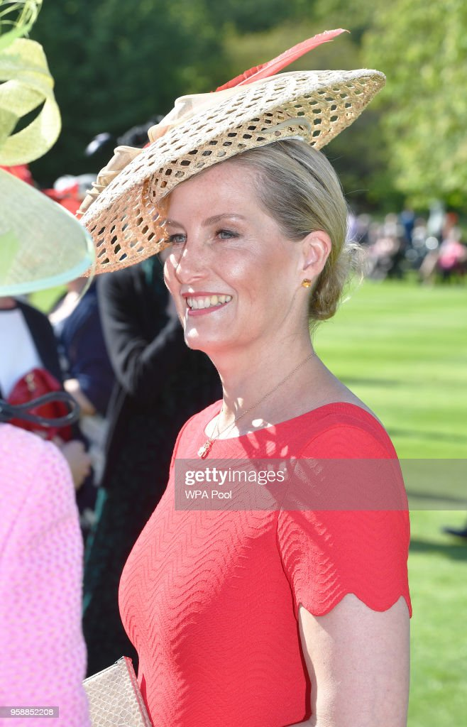 Sophie, Countess of Wessex attends a garden party at Buckingham Palace on May 15, 2018 in London, England.