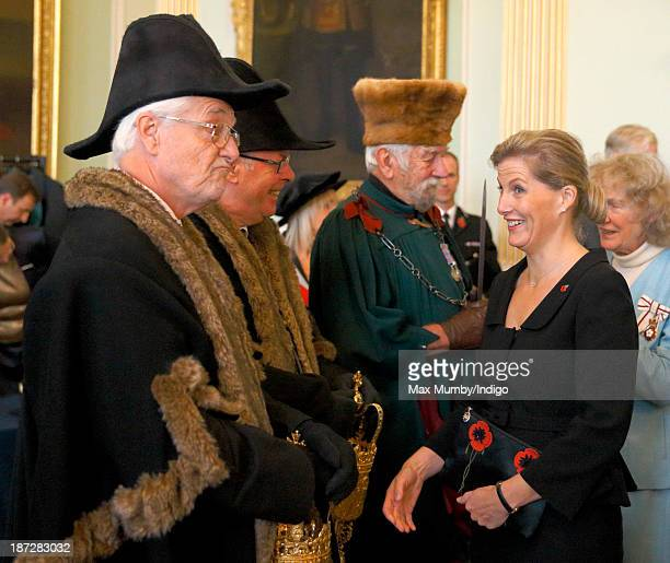 Sophie Countess of Wessex attends a reception prior to accompanying her husband Prince Edward Earl of Wessex to a service at Bath Abbey during which...
