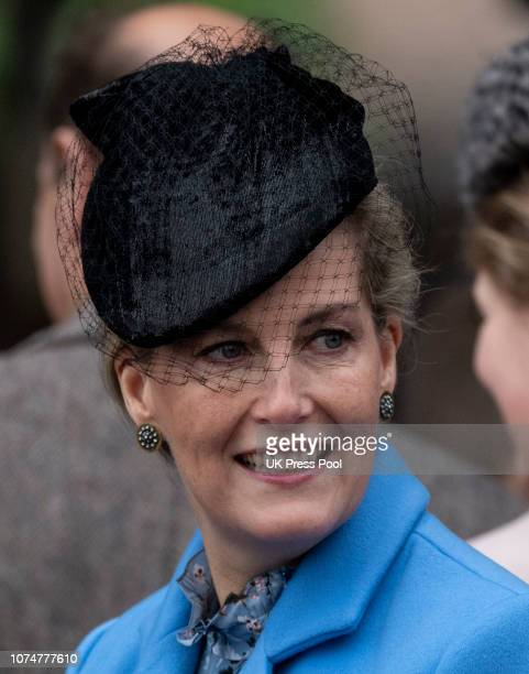 Sophie Countess of Wessex attends Christmas Day Church service at Church of St Mary Magdalene on the Sandringham estate on December 25 2018 in King's...