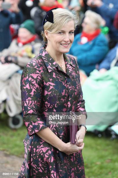 Sophie Countess of Wessex attends Christmas Day Church service at Church of St Mary Magdalene on December 25 2017 in King's Lynn England