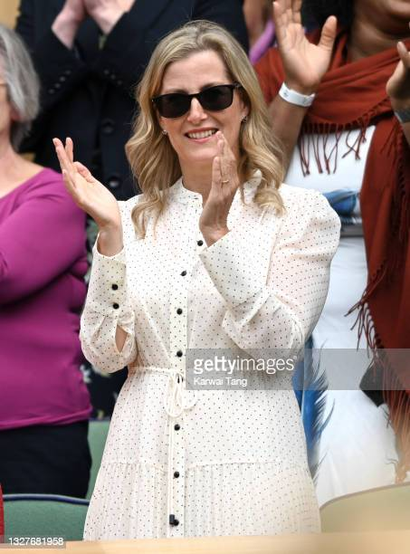 Sophie, Countess of Wessex attends day 10 of the Wimbledon Tennis Championships at the All England Lawn Tennis and Croquet Club on July 08, 2021 in...
