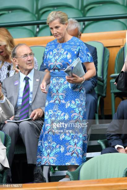 Sophie Countess of Wessex attends day nine of the Wimbledon Tennis Championships at All England Lawn Tennis and Croquet Club on July 10 2019 in...