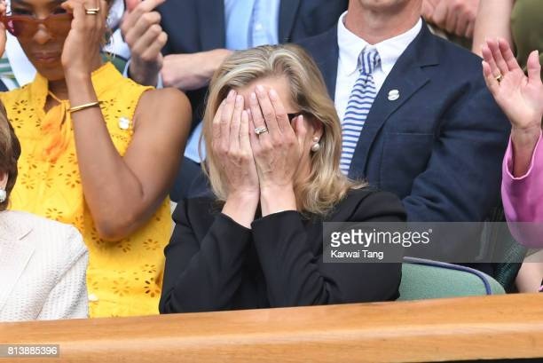 Sophie Countess of Wessex attends day ten of the Wimbledon Tennis Championships at the All England Lawn Tennis and Croquet Club on July 13 2017 in...