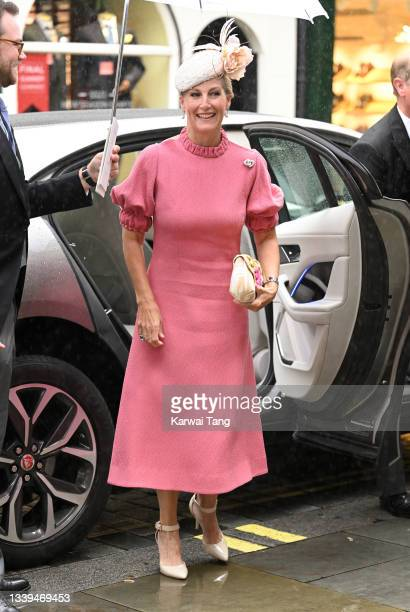 Sophie, Countess of Wessex attends Flora Alexandra Ogilvy and Timothy Vesterberg's marriage blessing at St James's Piccadilly on September 10, 2021...