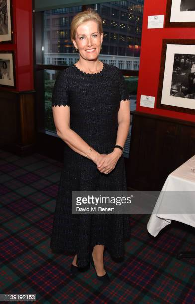 Sophie Countess of Wessex attends The British Bobsleigh Skeleton Gala Dinner with guest of honour HRH Sophie Countess of Wessex at Boisdale of Canary...