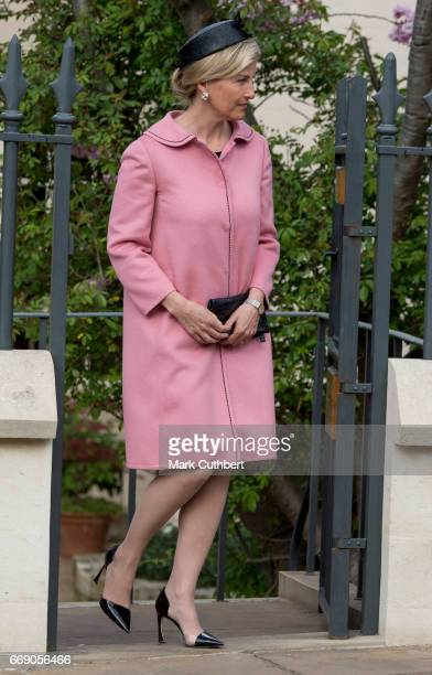 Sophie Countess of Wessex attends the Easter Day service at St George's Chapel on April 16 2017 in Windsor England