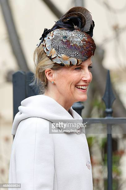 Sophie Countess of Wessex attends the Easter Matins service at St George's Chapel Windsor Castle on April 5 2015 in Windsor England