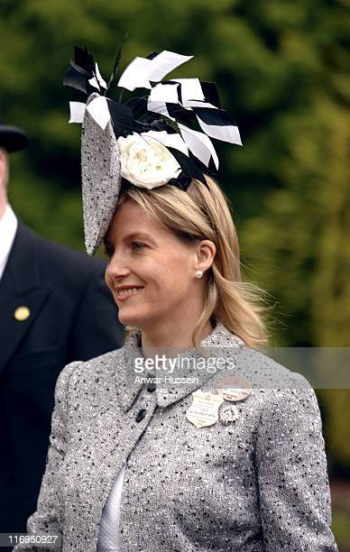 Sophie Countess of Wessex attends the first day of Royal Ascot 2005 at York Racecourse in York England on June 14 2005 This year's Royal Meeting is...