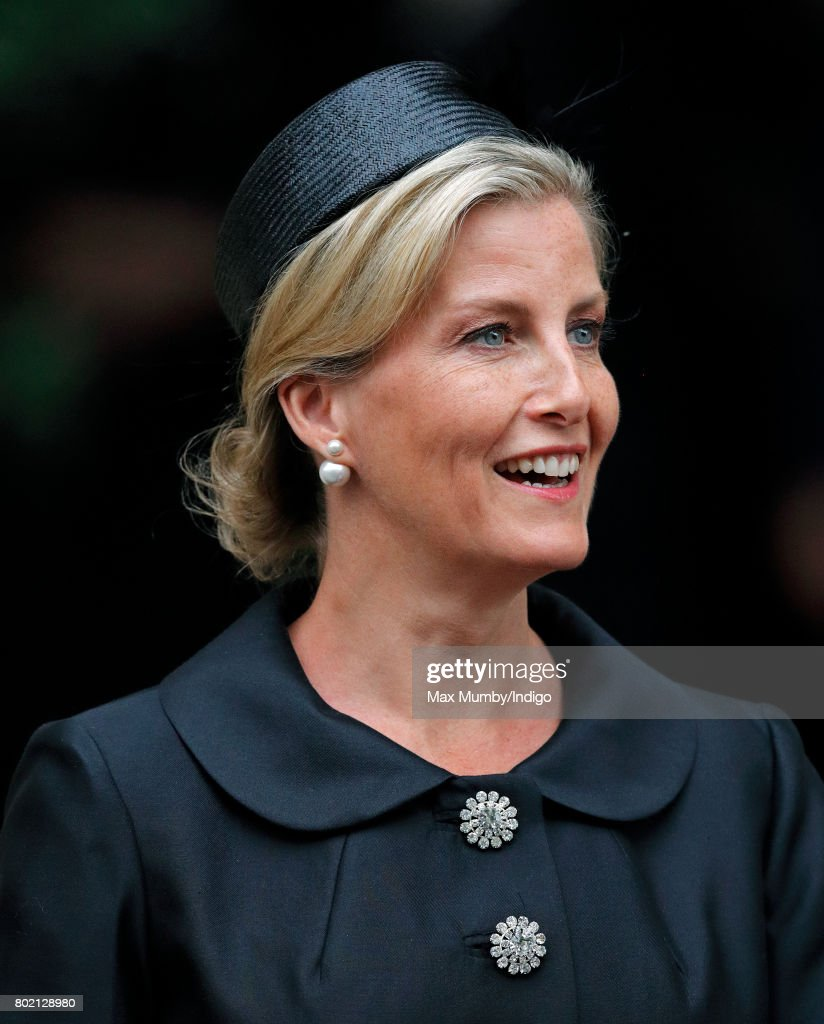 Sophie, Countess of Wessex attends the funeral of Patricia Knatchbull, Countess Mountbatten of Burma at St Paul's Church Knightsbridge on June 27, 2017 in London, England. Patricia, Countess Mountbatten of Burma daughter of Louis Mountbatten, 1st Earl Mountbatten of Burma and third cousin of Queen Elizabeth II died aged 93 on June 13 2017.