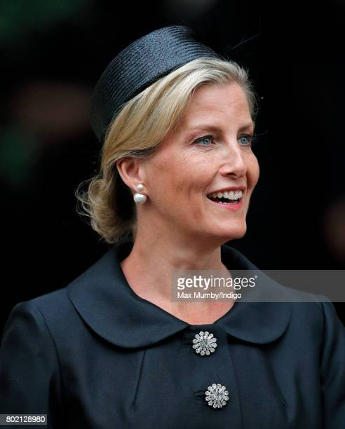 Sophie Countess of Wessex attends the funeral of Patricia Knatchbull Countess Mountbatten of Burma at St Paul's Church Knightsbridge on June 27 2017...