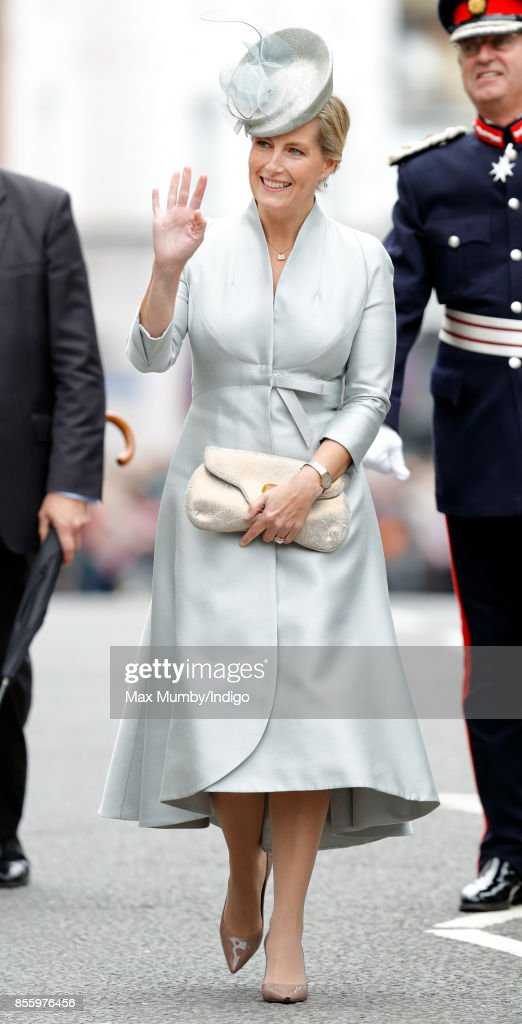 Sophie, Countess of Wessex attends the Headley Court Farewell Parade on September 29, 2017 in Dorking, England. A service of thanksgiving at St Martin's Church and a farewell parade mark the beginning of a year of events prior to the Defence Medical Rehabilitation Centre (DMRC), currently based at Headley Court, relocating to a new purpose built facility on the Stanford Hall estate near Loughborough.