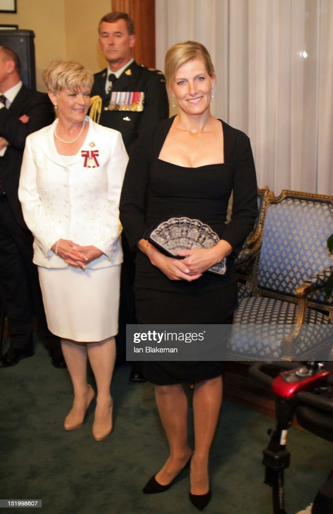 Sophie, Countess of Wessex (R) attends the presentation of the Queen's Diamond Jubilee Medals during the 2012 Toronto International Film Festival at Queen's Park on September 14, 2012 in Toronto, Canada.
