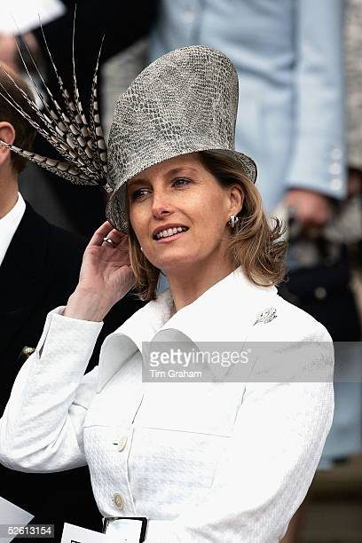 Sophie Countess of Wessex attends the Service of Prayer and Dedication blessing the marriage of TRH the Prince of Wales Prince Charles and The...