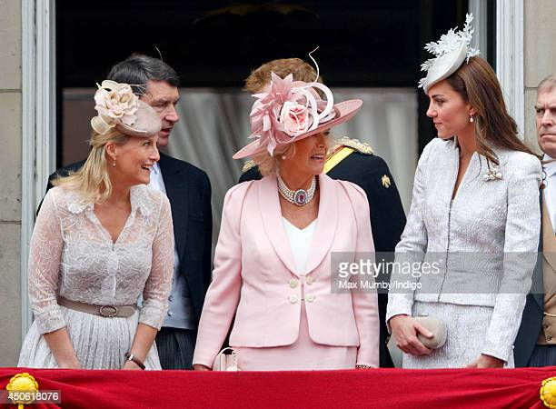 Sophie Countess of Wessex Camilla Duchess of Cornwall and Catherine Duchess of Cambridge stand on the balcony of Buckingham Palace during Trooping...
