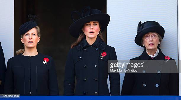 Sophie Countess of Wessex Catherine Duchess of Cambridge and Lady Susan Hussey attend the annual Remembrance Sunday Service at the Cenotaph Whitehall...