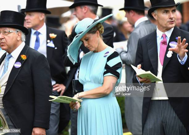Sophie Countess of Wessex checks her racecard on day 2 of Royal Ascot at Ascot Racecourse on June 20 2018 in Ascot England
