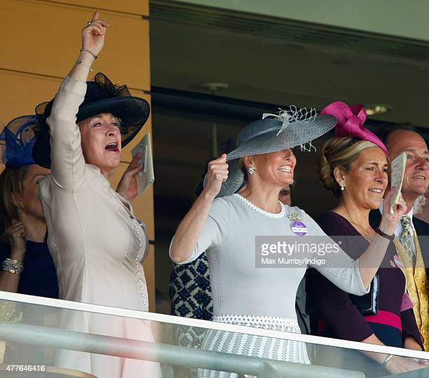 Sophie, Countess of Wessex cheers as she watches the Gold Cup on day 3, Ladies Day, of Royal Ascot at Ascot Racecourse on June 18, 2015 in Ascot,...