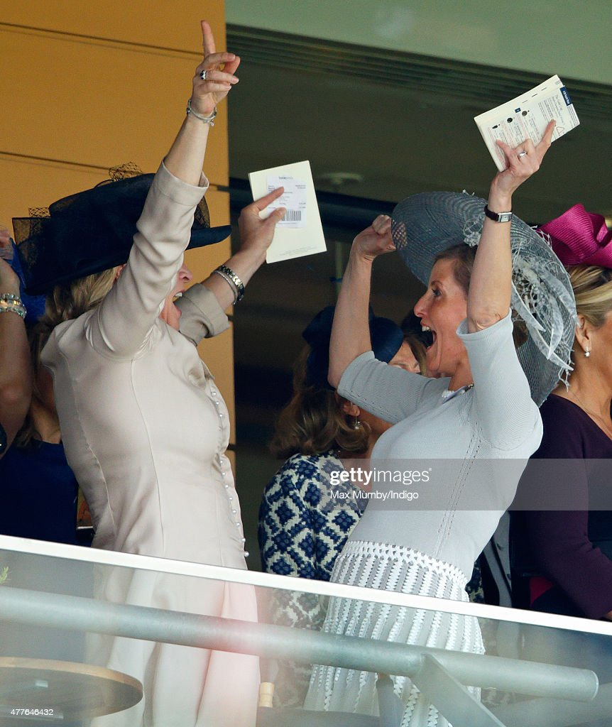 Sophie, Countess of Wessex cheers as she watches the Gold Cup on day 3, Ladies Day, of Royal Ascot at Ascot Racecourse on June 18, 2015 in Ascot, England.