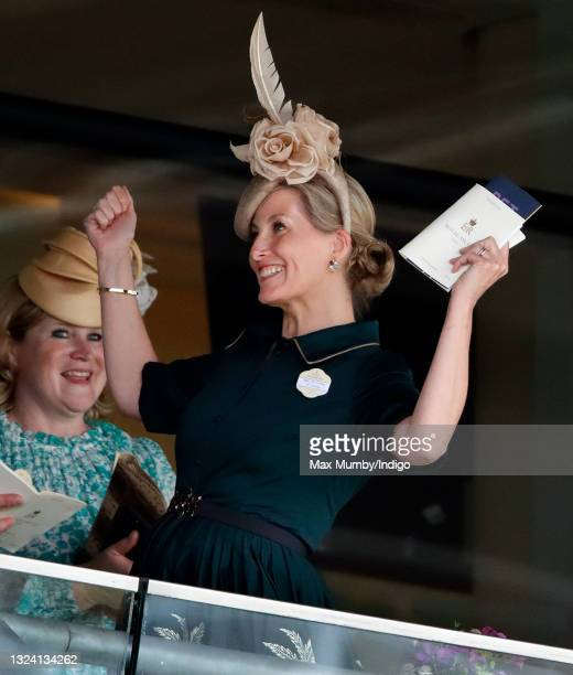 Sophie, Countess of Wessex cheers as she watches the racing on day 3 of Royal Ascot at Ascot Racecourse on June 17, 2021 in Ascot, England.