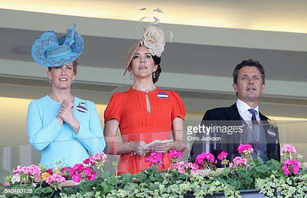Sophie Countess of Wessex Crown Princess Mary of Denmark and Crown Prince Frederik of Denmark attend the second day of Royal Ascot at Ascot...