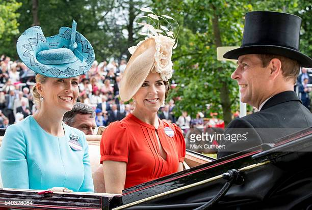Sophie Countess of Wessex Crown Princess Mary of Denmark and Prince Edward Earl of Wessex attend day 2 of Royal Ascot at Ascot Racecourse on June 15...