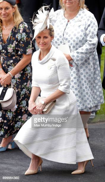 Sophie Countess of Wessex curtsies to Queen Elizabeth II as she attends day 3 Ladies Day of Royal Ascot at Ascot Racecourse on June 22 2017 in Ascot...