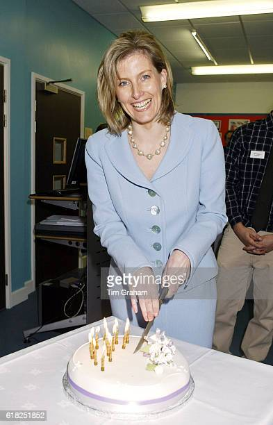 Sophie Countess of Wessex cuts a birthday cake made for her on her 40th birthday Sophie is opening a new Sixth Form Centre at Collingwood College in...