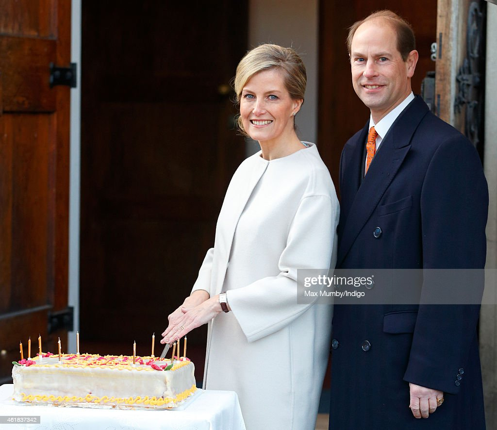 Sophie, Countess of Wessex cuts her birthday cake as she and Prince Edward, Earl of Wessex visit the Tomorrow's People Social Enterprises at St Anselm's Church, Kennington on her 50th birthday on January 20, 2015 in London, England.