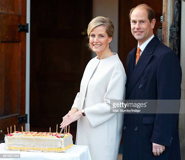 Sophie Countess of Wessex cuts her birthday cake as she and Prince Edward Earl of Wessex visit the Tomorrow's People Social Enterprises at St...