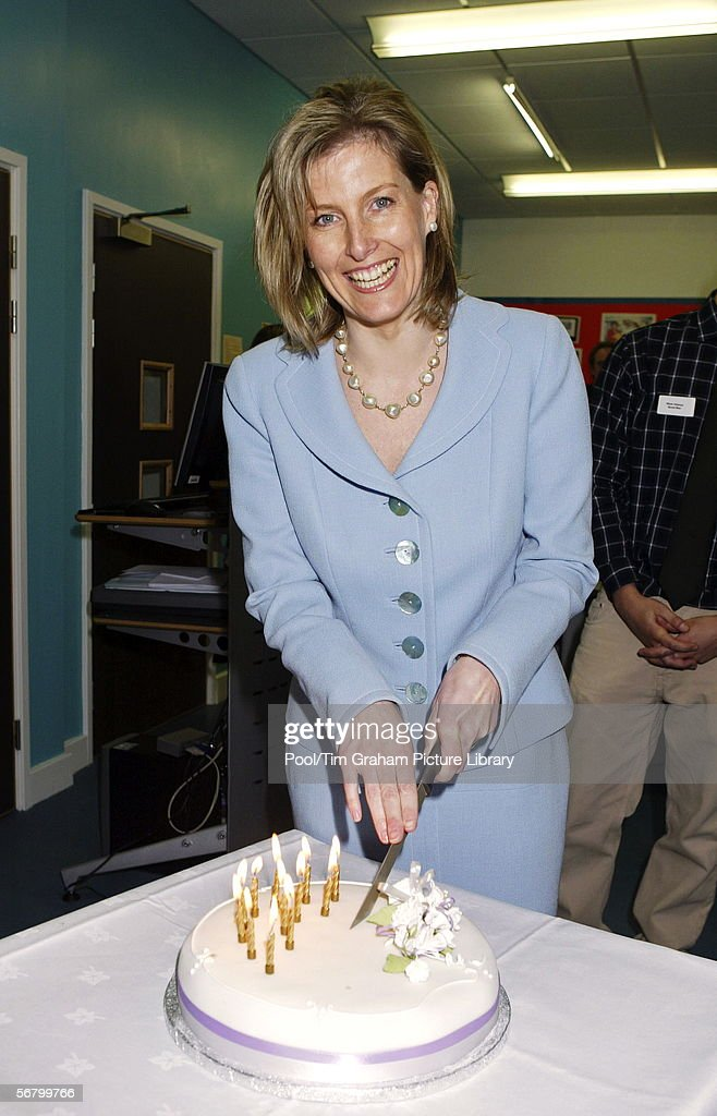 Sophie Countess Of Wessex Cutting A Birthday Cake Made For Her To Celebrate 40th