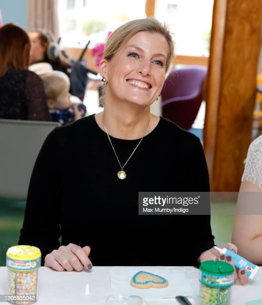 Sophie Countess of Wessex decorates a heart shaped valentine's day shortbread biscuit as she visits Shooting Star House one of two hospices run by...