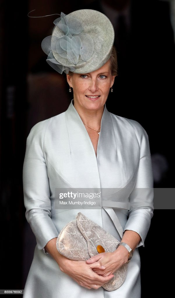 Sophie, Countess of Wessex departs after attending a service of thanksgiving at St Martin's Church before the Headley Court Farewell Parade on September 29, 2017 in Dorking, England. A service of thanksgiving at St Martin's Church and a farewell parade mark the beginning of a year of events prior to the Defence Medical Rehabilitation Centre (DMRC), currently based at Headley Court, relocating to a new purpose built facility on the Stanford Hall estate near Loughborough.
